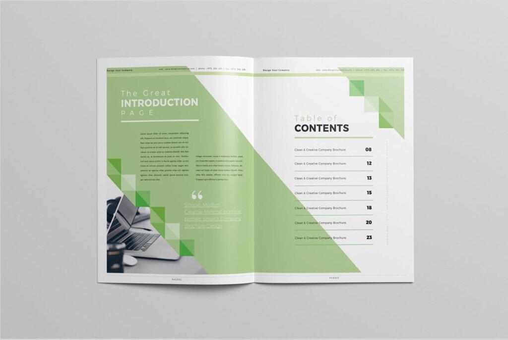 绿色环保简约杂志手册模板素材下载UXZT87插图(1)