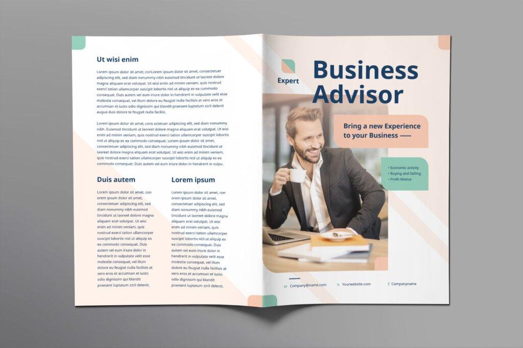 商业宣传双折页商务咨询模板素材下载Business Advisor Brochure Bifold插图(1)