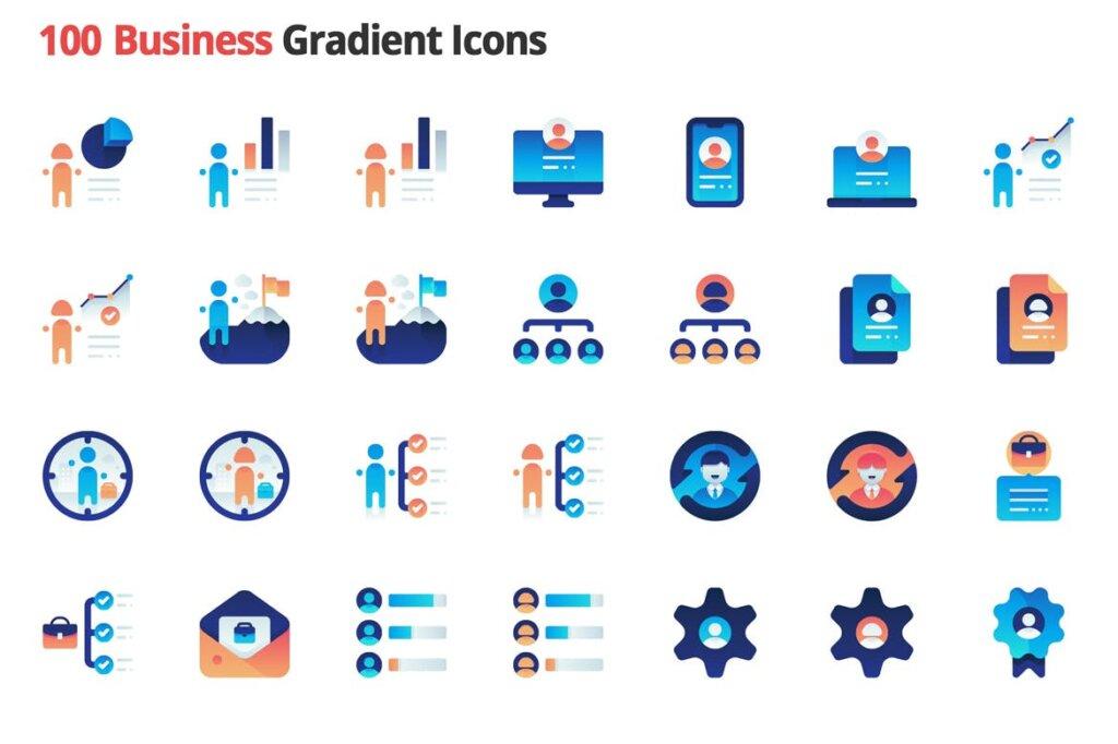 100个图标素材组织管理图标源文件素材下载Business Employment Vector Gradient Icons插图(1)