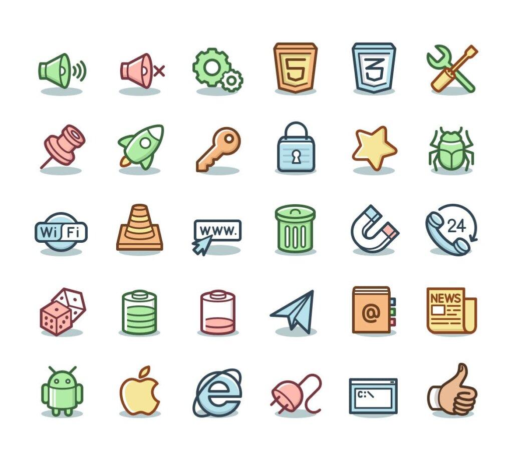 电脑桌面系统图标线性源文件图标下载Capitalist Icons Web Essentials插图(1)