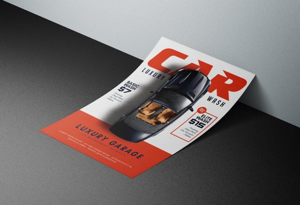 洗车传单活动促销海报传单模版素材下载SHF7R3T插图(1)