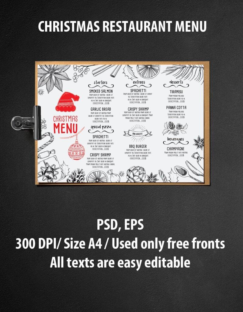 圣诞节餐饮品牌菜单传单海报模板Christmas Menu Restaurant TemplateZ4F4AZ插图(1)