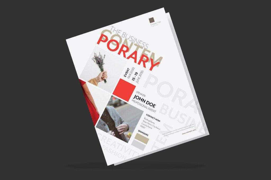 年度分享交流会简约风设计传单海报模板Clean Minimal Creative Event Flyer插图(1)