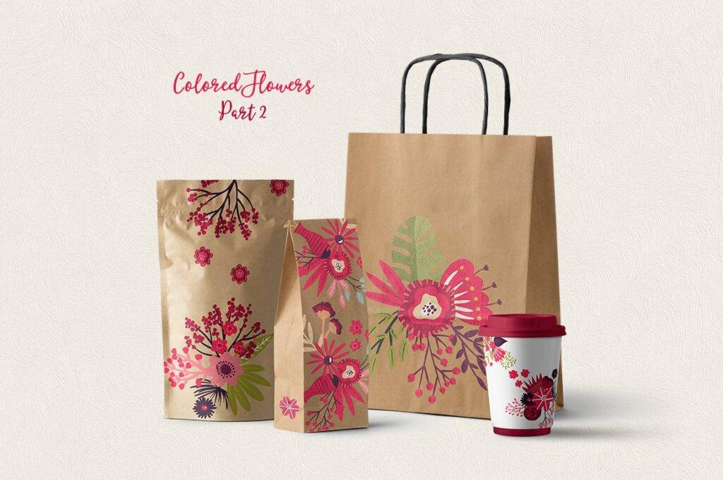 高端糖果坚果食品品牌包装图案纹理素材Colored Flowers Part 2插图(1)