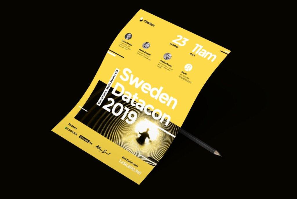 国际大型讲座会议海报传单模板素材下载Conference Poster 1插图