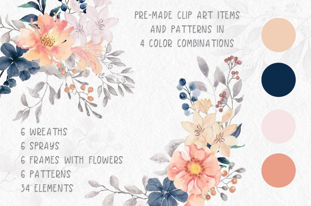 婚礼装饰图案花纹背景图案下载Coral Garden Watercolor Clip Art Collection插图(1)