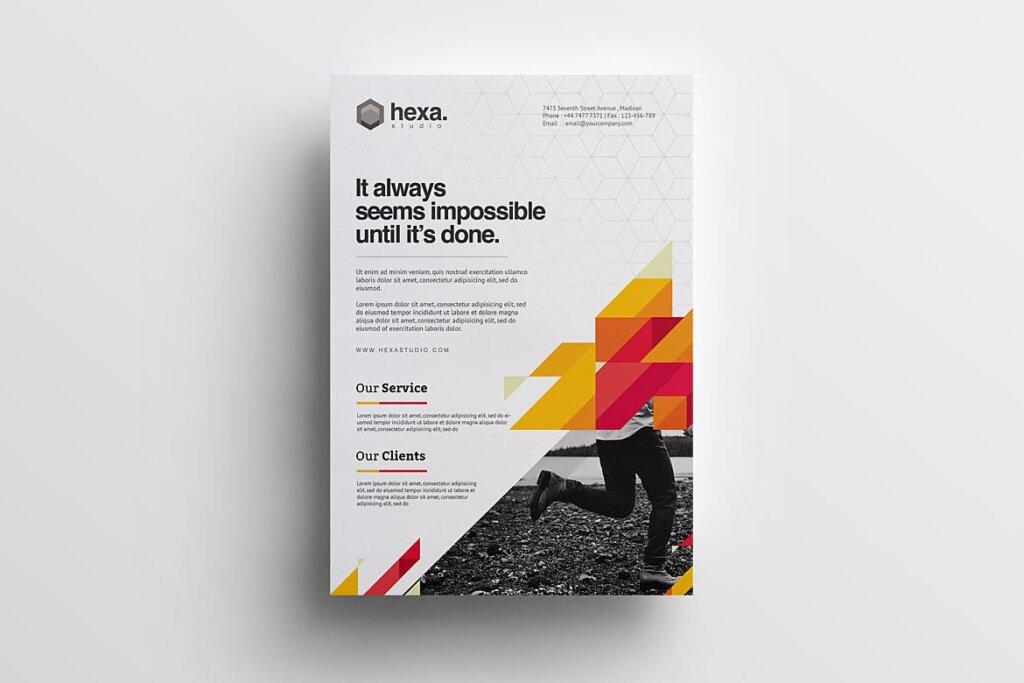 公司商务宣传/产品介绍模板素材下载Creative Corporate Flyer插图(1)