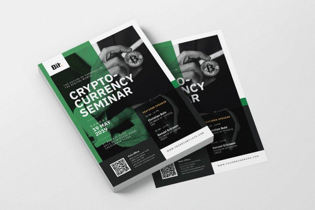 数字加密货币研讨会AI和PSD传单海报模板素材下载Crypto Currency Seminar AI and PSD Flyer Vol 1插图(1)