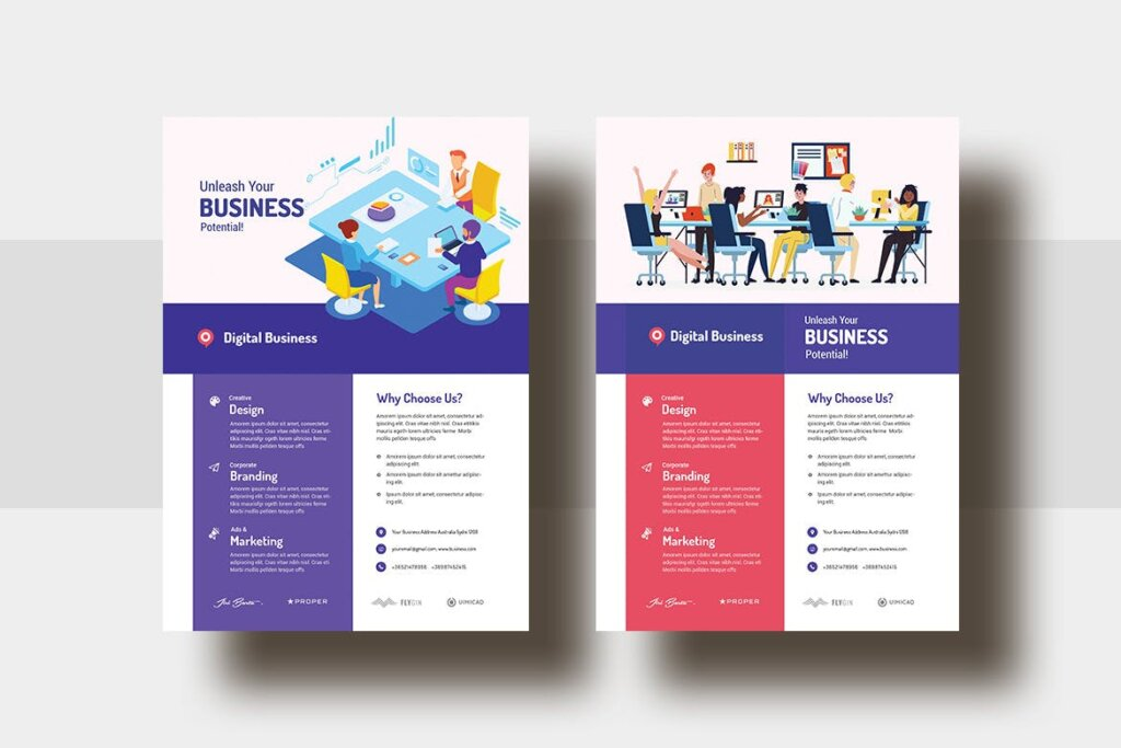 2.5D矢量插画商务会议海报传单模版素材下载Digital Agency Business AD Flyer V 29插图(1)