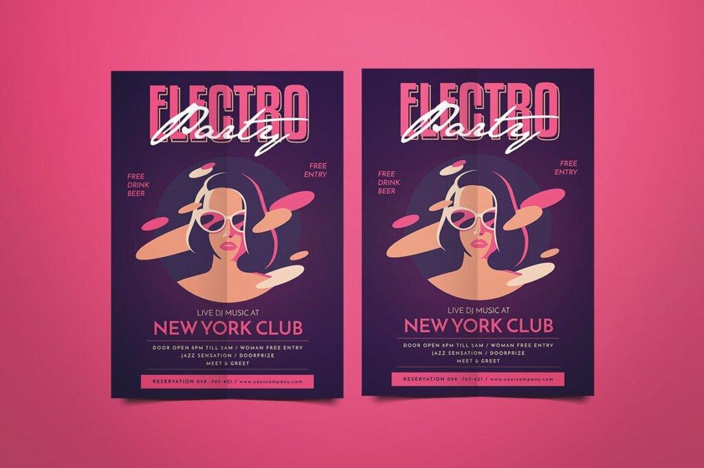 场景式电子音乐派对传单海报Electro Party Flyer JXHDF8插图(1)