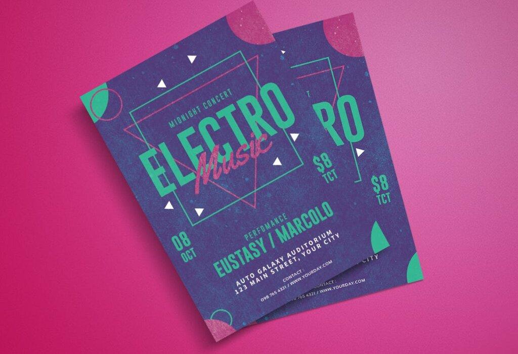 精致文艺电子音乐节日传单海报模板素材下载Electro Party Flyer MSDWUS插图(1)
