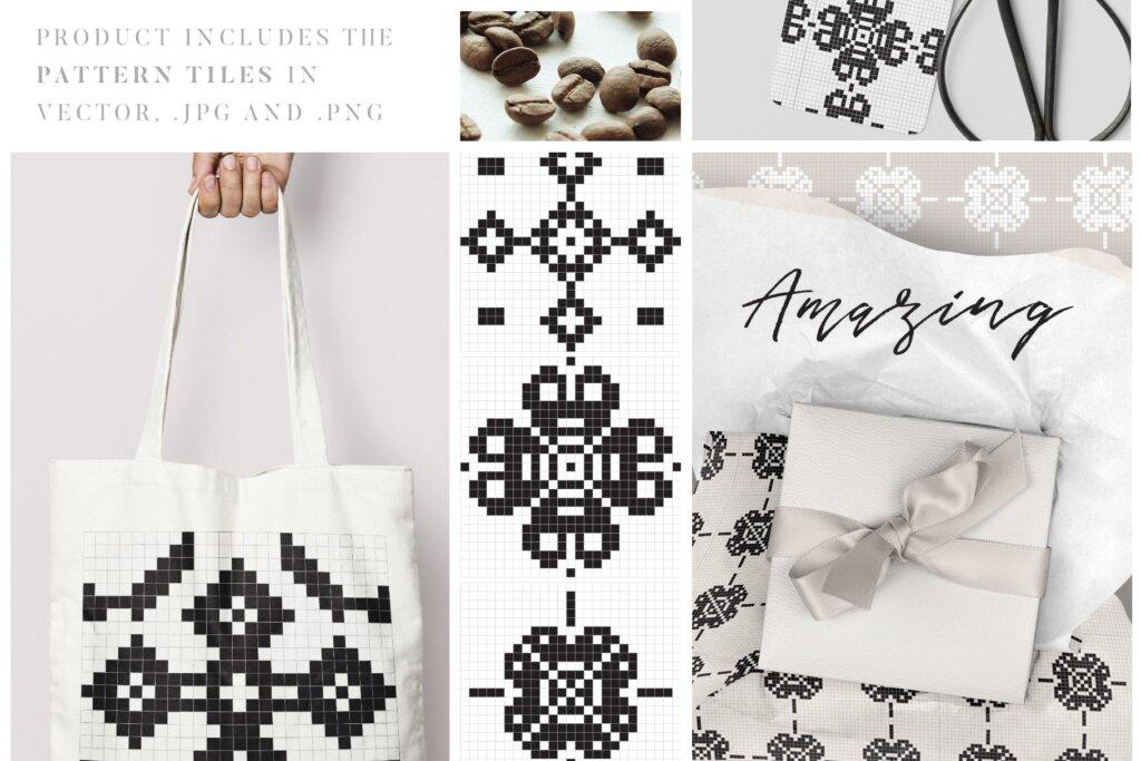 20个刺绣风格矢量图案素材纹理素材Embroidery Style Vector Patterns插图