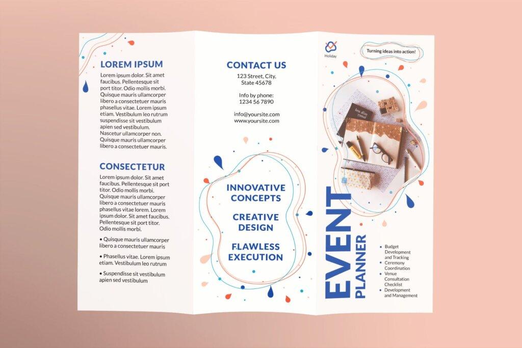简约文艺时尚风格宣传活动折页模板Event Planner Brochure Trifold插图(1)