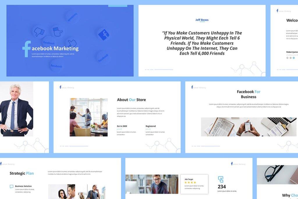 营销演示文稿提案创意演示PPT模版Facebook Marketing Powerpoint Presentation插图(1)