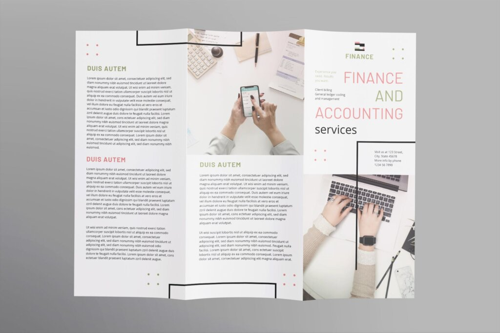 商务时尚现代产品宣传这模板素材下载Finance and Accounting Brochure Trifold插图(1)