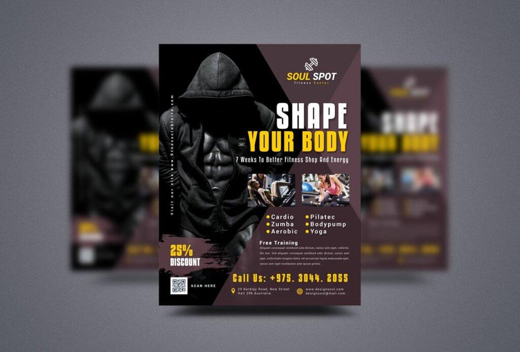 精致文艺健康和健身传单海报模版BFZEPW插图