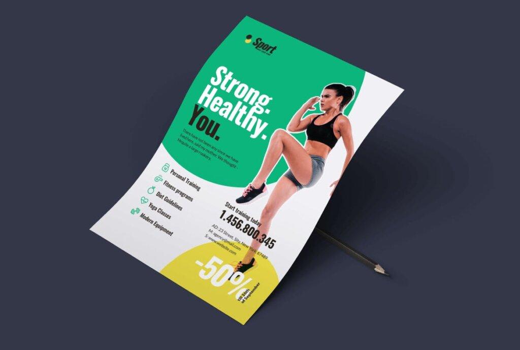 高端现代简约运动瑜伽海报传单模版素材97R6D5插图(1)