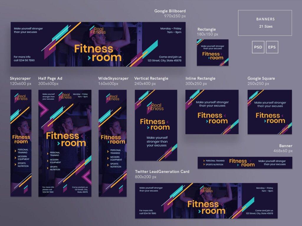 健身房行业邀请函礼品标签海报模版素材下载Fitness Gym Banner Pack Template插图(1)