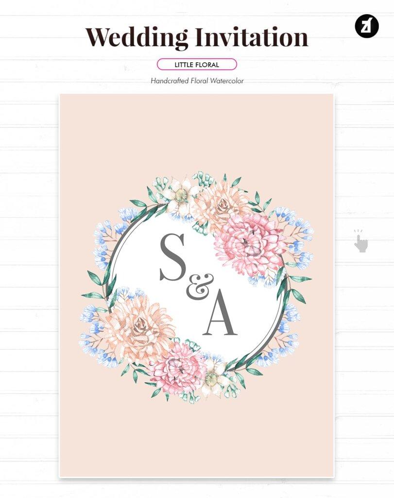 花卉手绘水彩画与奖金的花卉装饰图案纹理海报传单模板素材GQ4CKYT插图(1)