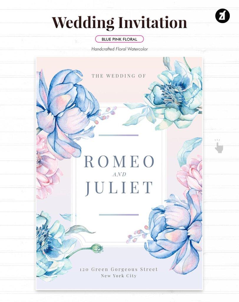 蓝粉红色手绘水彩画传单海报模板Floral Hand-drawn Watercolor Wedding Invitation EFMSCVH插图(1)