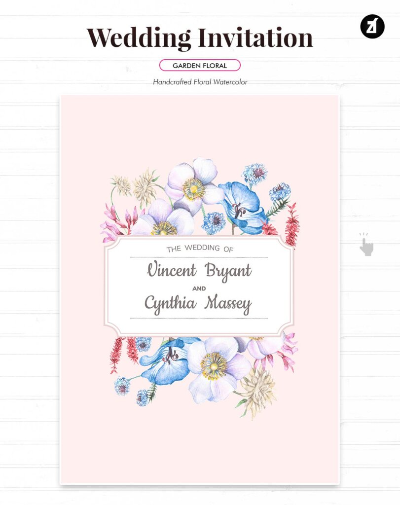 婚礼海报易拉宝素材模板素材下载Floral Hand drawn Watercolor Wedding Invitation BPSRDN3插图(1)