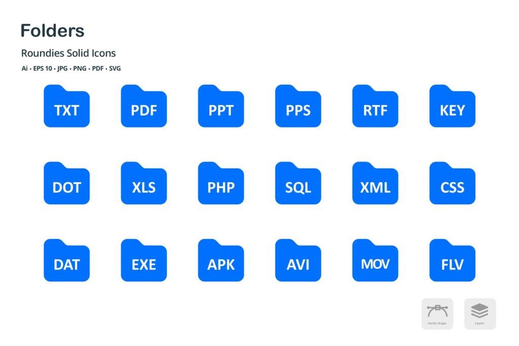 文件夹和文件矢量剪影图标源文件下载Folders and Files Roundies Solid Glyph Icons插图(1)