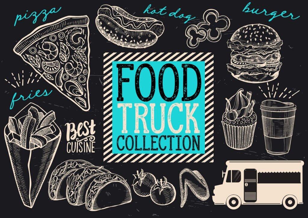 黑白手绘涂鸦街头食品/食品卡车涂鸦元素装饰图案纹理素材Food Truck Elements VBXFC6插图(1)