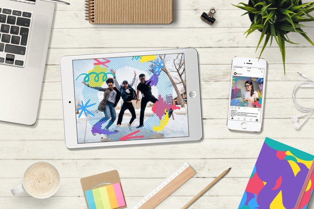 马卡龙剪贴画/渐变图案纹理素材下载Funny Collage Kit插图(1)
