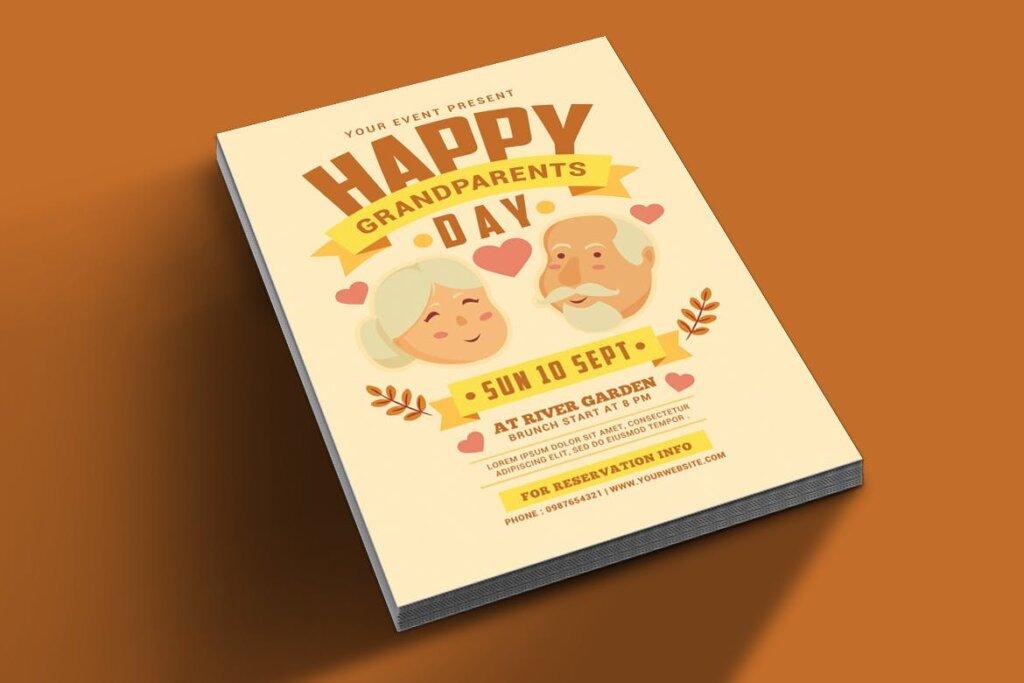 感恩节日活动海报传单模版素材下载Grandparents Day Flyer插图(1)