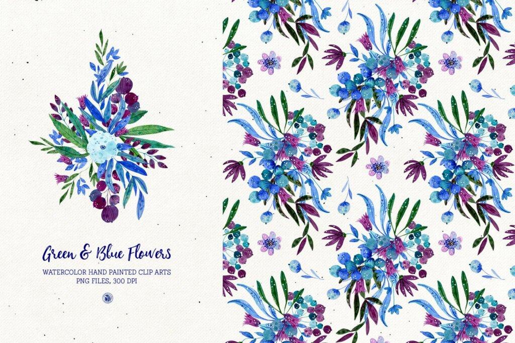 绿色和蓝色的花手绘水彩花/邀请函贺卡装饰图案素材模板下载Green and Blue Flowers插图(1)