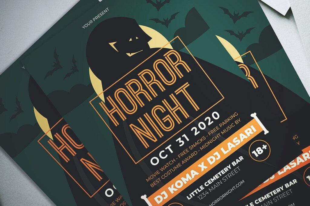 万圣节恐怖夜创意传单海报模板素材下载Halloween Horror Night Flyer插图(1)
