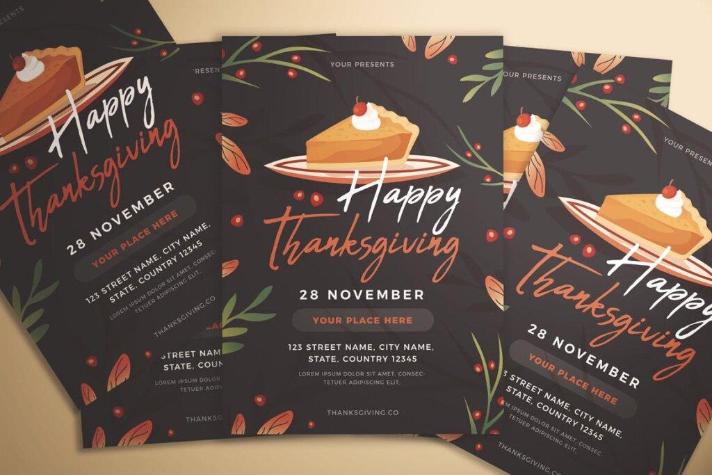 感恩节快乐传单海报模版素材下载Happy Thanksgiving Flyer插图(1)