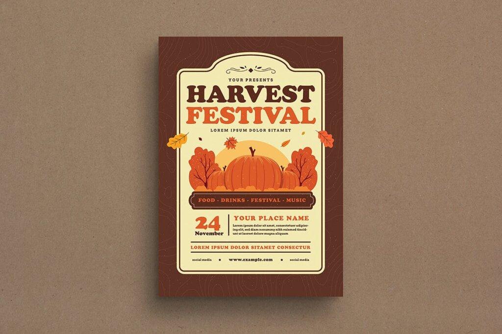 丰收季节庆祝活动传单海报模版素材Harvest Festival Event Flyer插图(1)