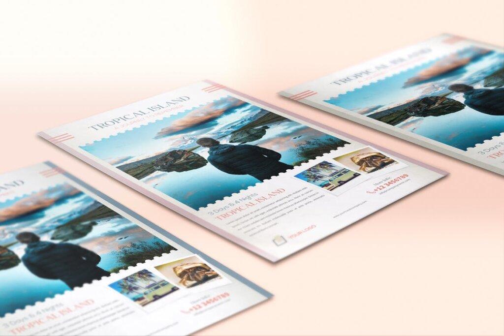 假日旅行热带岛屿旅行传单海报模板素材Holiday Travel Journey Flyers RX65B8插图(1)