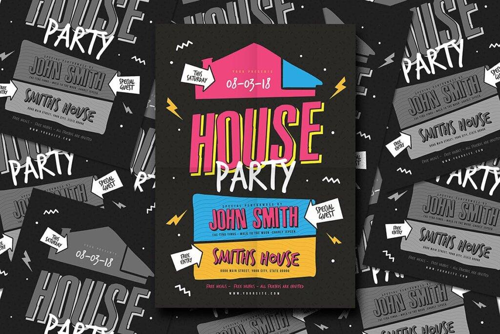 家庭圣后派对创意海报传单模板素材House Party Flyer插图(1)