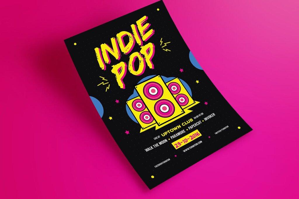 POP创意海广告报传单模板素材下载Indie Pop Music Flyer插图(1)