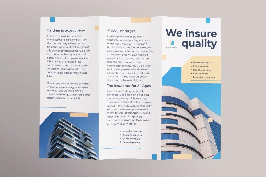 金融保险公司折页宣传册三折模板素材下载Insurance Agency Brochure Trifold插图(1)