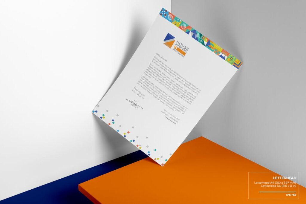 几何纹理图案装饰品牌宣传海报传单模板素材下载Interiors & Architecture – Print Pack Template插图(1)