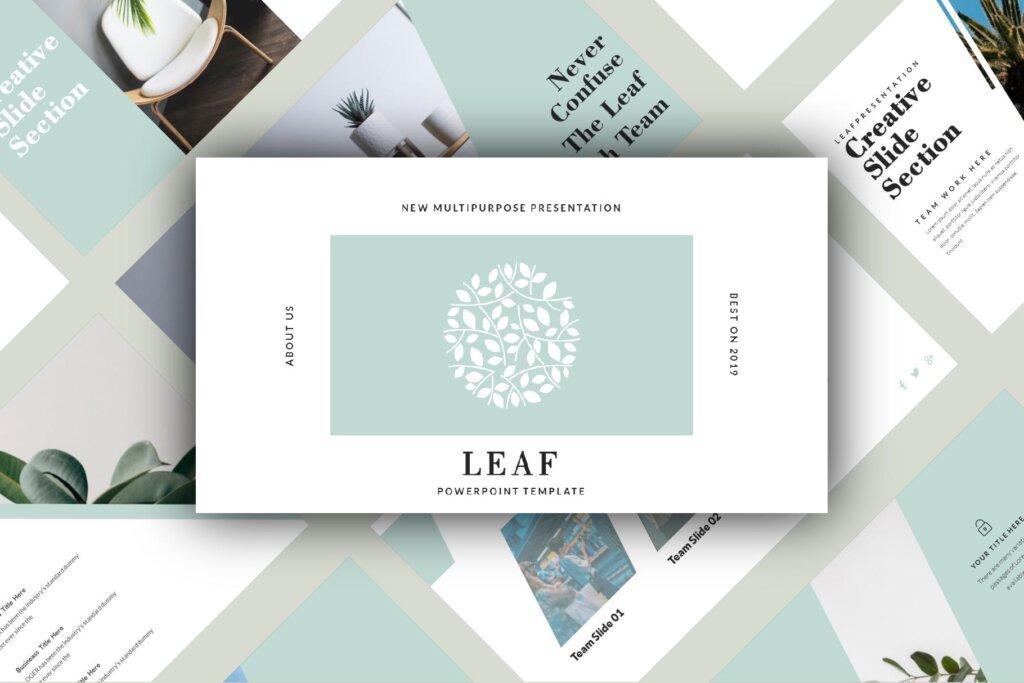 绿色生活概念主题幻灯片PPT模版素材下载LEAF Powerpoint Template插图(1)