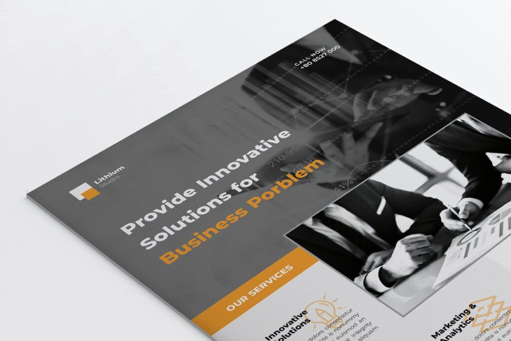 企业商务传单海报模板素材下载LITHIUM Multipurpose Business Flyer插图(1)