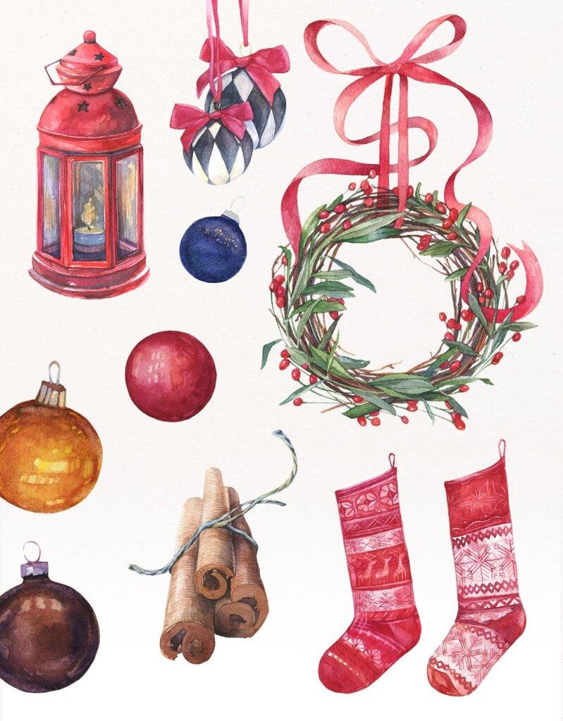 甘草圣诞水彩画装饰图案纹理/圣诞节周边产品素材Licorice Christmas Watercolor Kit插图(1)