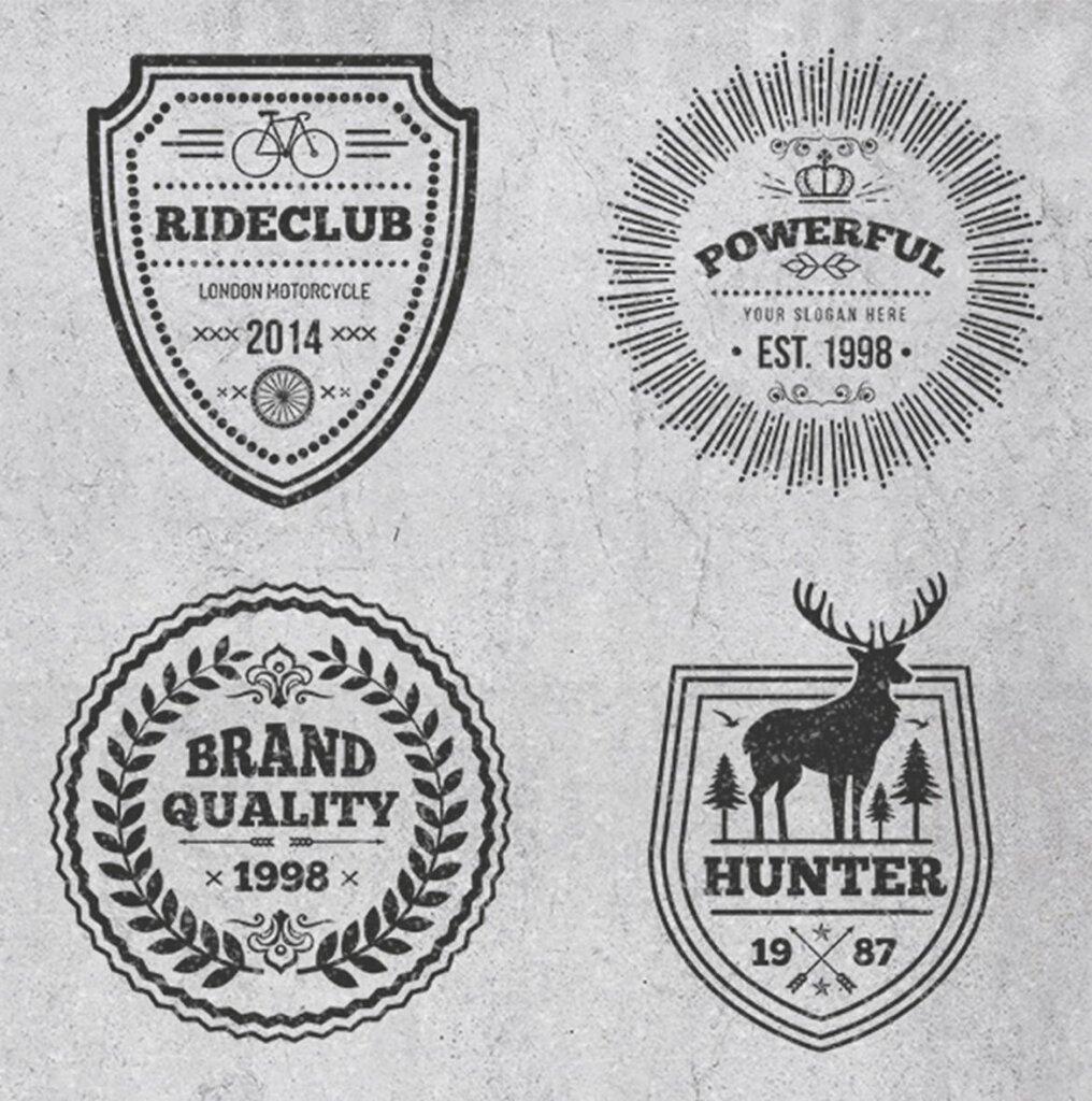 精致复古风格的徽章标识图案纹理素材Logos and Badges Vintage Style插图(1)