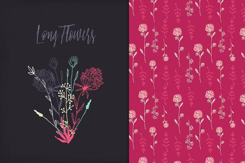 古典沙发装饰图案花卉图案纹理素材Long Flowers UBPGHU插图(1)