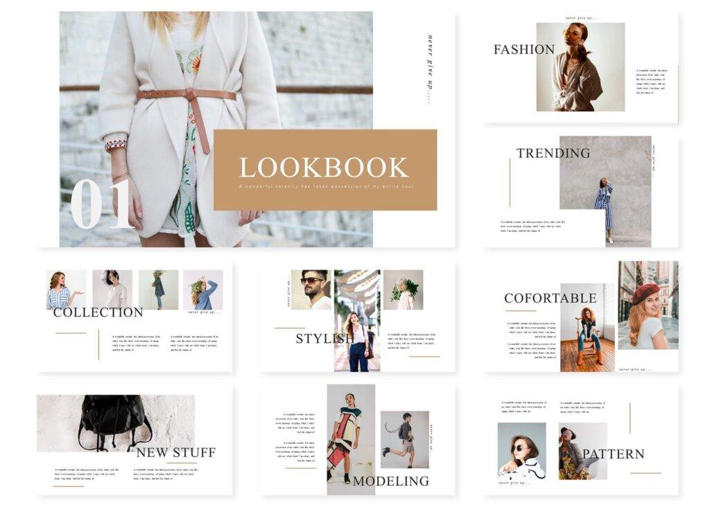 时尚服装行商务演示幻灯片模版下载Lookbook Powerpoint Template插图(1)