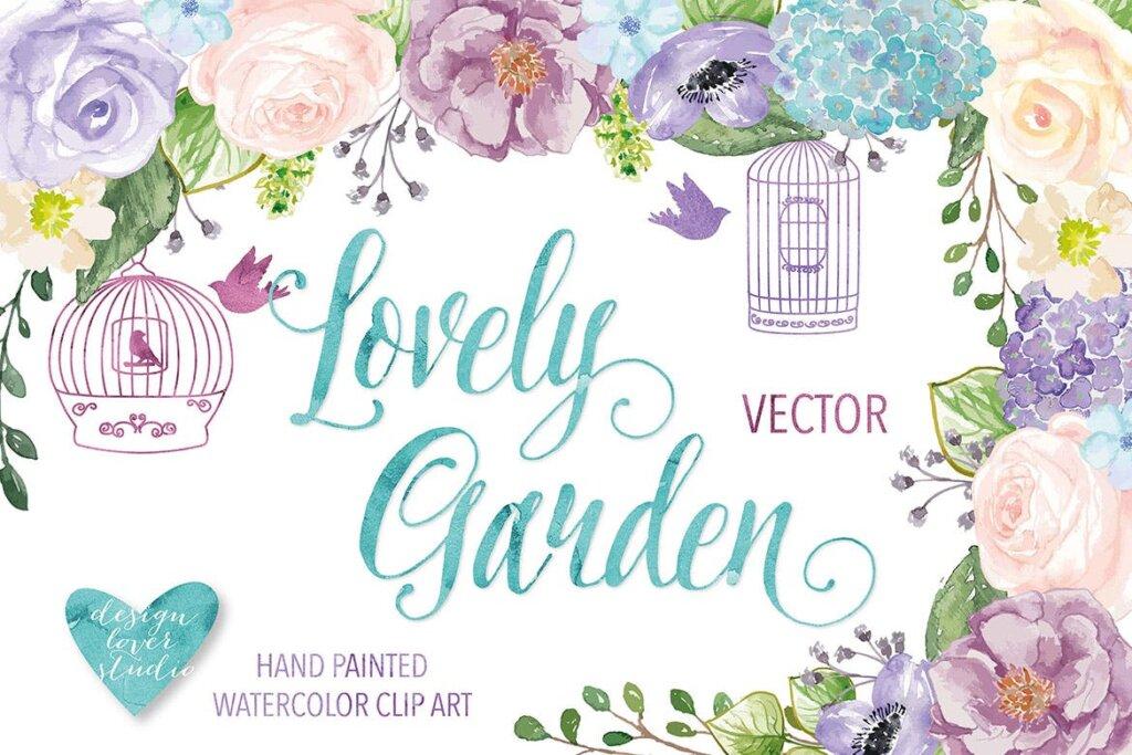 紫色花卉装饰图案纹理素材Lovely Garden design插图(1)