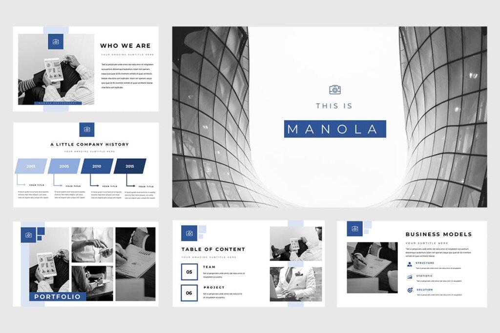 企业融资策划提案幻灯片PPT模版下载Manola Pitch Deck Powerpoint Presentation插图(1)