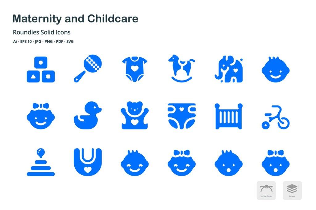 孕妇和儿童保育圆形剪影矢量图标素材下载Maternity and Childcare Roundies Solid Glyph Icons插图(1)