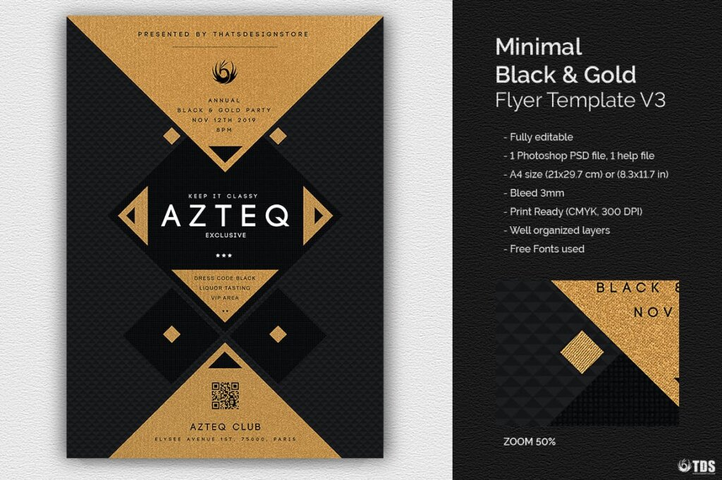 创意几何拼图企业发布会传单海报模板素材下载Minimal Black and Gold Flyer Template V3插图(1)