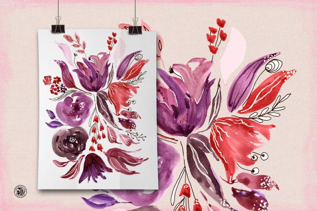 精致混合装饰红色花卉图案纹理素材Mixed Media Flowers P74RCD插图(1)