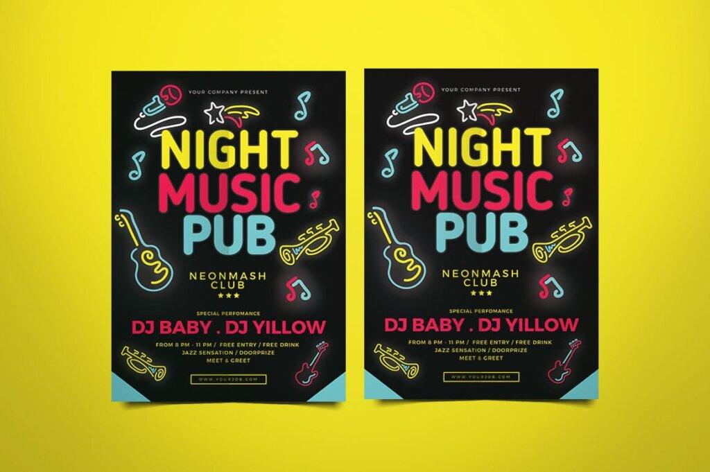 音乐酒吧派对活动传单海报模板素材Music Pub Flyer插图(1)